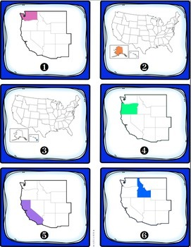 West Region States and Capitals Task Cards {Four Regions}