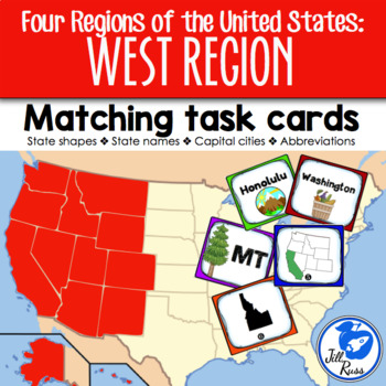 West Region States and Capitals Task Cards {Four Regions} by Jill Russ