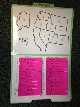 West Region Study Folders-States and Capitals
