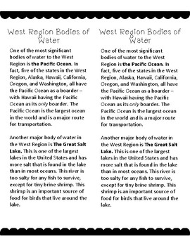 West Region of the United States Interactive Notebook Reading Passages Printable