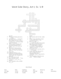 West Side Story Act I, Sc. 5-9 Review Puzzle