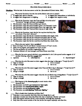 West Side Story Film 1961 15 Question Multiple Choice Quiz Tpt