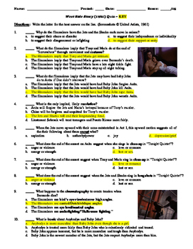 West Side Story Film (1961) 15-Question Multiple Choice Quiz