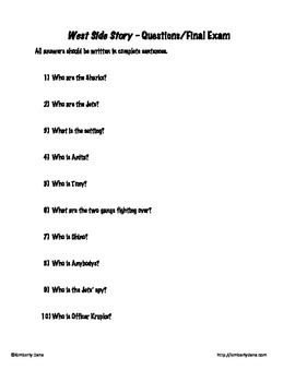 West Side Story Study Guide/Final Exam Test