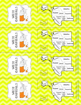 West United States Bookmarks with States, Capitals, and Abbreviations