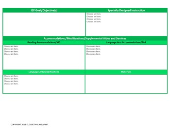 West Virgina CCR Standards Special Ed Lesson Plan Templates Grades K-2