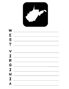 West State Acrostic Poem Template, Project, Activity, Worksheet