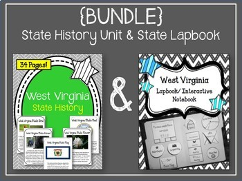 West Virginia {BUNDLE} State History Unit & Lapbook. Interactive Notebook. US