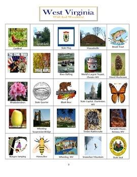 West Virginia Bingo:  State Symbols and Popular Sites