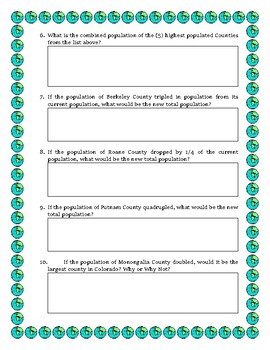 West Virginia Data Analysis and Math Word Problems on the Pop. of West Virginia