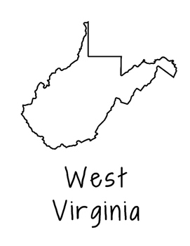 West Virginia Map Coloring Page Craft - Lots of Room for Note-Taking