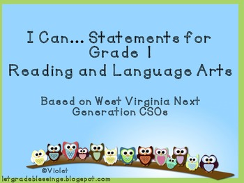 West Virginia Next Generation I Can Statement Posters RLA Grade 1 PREVIEW