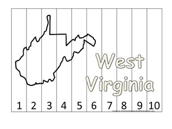 West Virginia Number Sequence Puzzle.  Learn the States preschool printable game