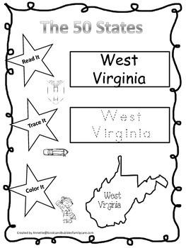 West Virginia Read it, Trace it, Color it Learn the States preschool worksheeet
