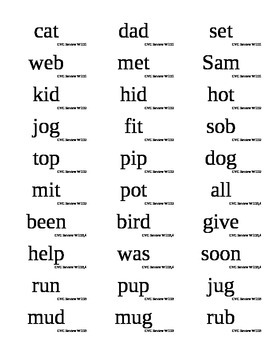 West Virginia Reading First Phonics word flashcard labels CVC Review