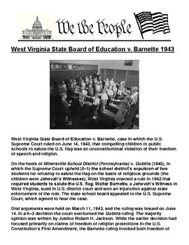 West Virginia State Board of Education v. Barnette 1943 Article & Assignment
