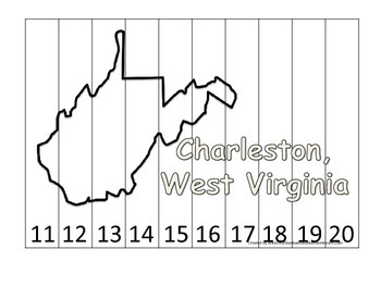 West Virginia State Capitol Number Sequence Puzzle 11-20.  Geography and Numbers