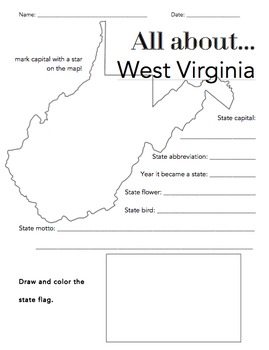 West Virginia State Facts Worksheet: Elementary Version