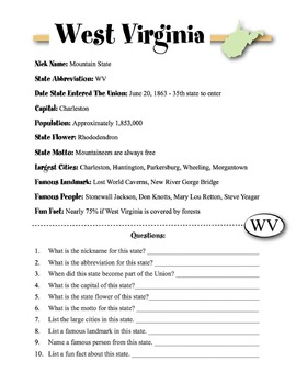 West Virginia State Information & Worksheet