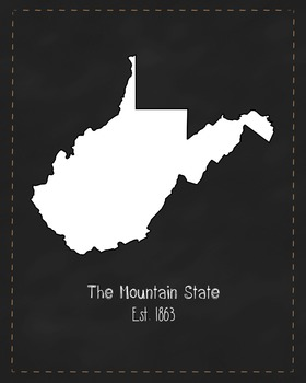 West Virginia State Map Class Decor, Government, Geography, Black and White