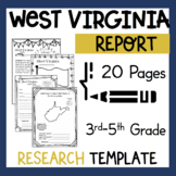 West Virginia State Research Report Project Template with timeline craftivity WV