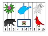 West Virginia State Symbols themed 1-10 Number Sequence Puzzle Preschool Game.