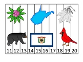 West Virginia State Symbols themed 11-20 Number Sequence Puzzle Preschool Game.
