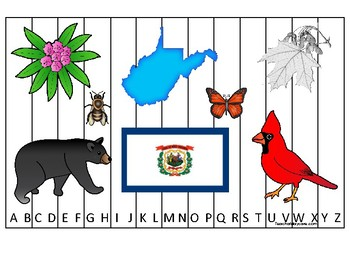 West Virginia State Symbols themed Alphabet Sequence Puzzle Preschool Game.