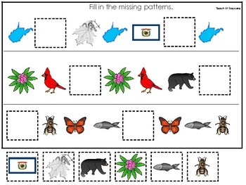 West Virginia State Symbols themed Fill In the Missing Pattern Preschool Game.