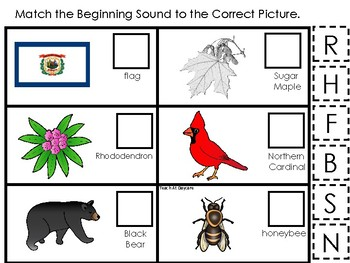 West Virginia State Symbols themed Match the Beginning Sound Preschool Game