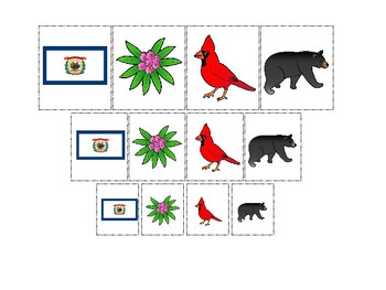 West Virginia State Symbols themed Size Sorting Printable Preschool Math Game.