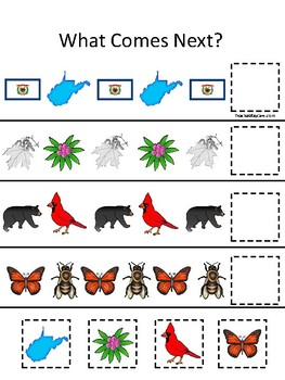 West Virginia State Symbols themed What Comes Next Preschool Math Pattern Game.