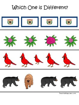 West Virginia State Symbols themed Which One is Different Preschool Math Game.