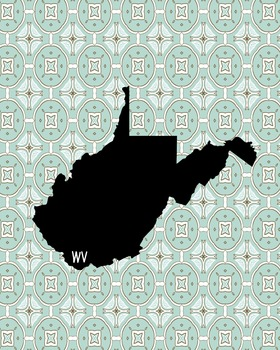 West Virginia Vintage State Map or Poster Class Decor, Classroom Decor