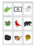 West Virginia themed Memory Matching and Word Matching preschool curriculum game