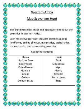 Western Africa Map Scavenger Hunt