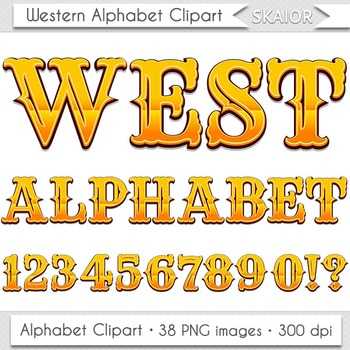 Western Alphabet Clipart West Letters Numbers Gold Digital Text Printable Cowboy