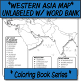 Western Asia Political Map (Unlabeled with Word Bank) **Coloring Book Series**