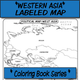 Western Asia Political Map (Labeled) **Coloring Book Series**