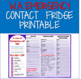 Western Australia (W.A) Emergency Contacts Printable