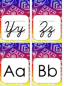 Western Bandana Word Wall Letter Cards