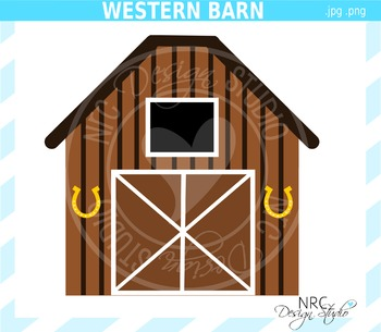 Western Barn Clip Art - Commercial Use Clipart