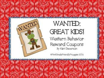Behavior Reward Coupons - Western themed