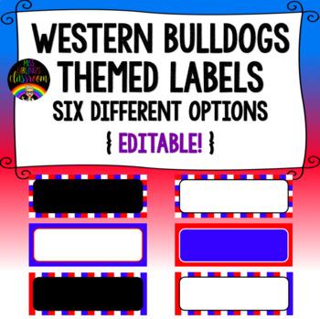 Western Bulldogs Themed Labels {Editable!}