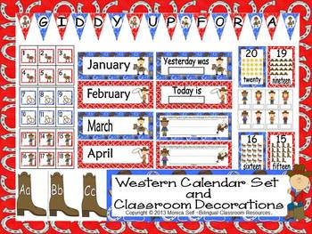 Western Calendar Set  and Classroom Decorations