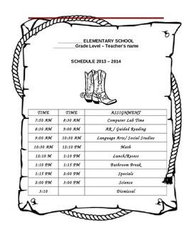Western Class Schedule template