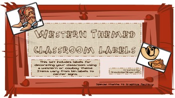 Western Classroom Label/Sign Set