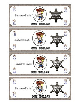 Classroom Money- Western Themed