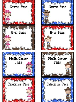 EDITABLE Western Classroom Passes