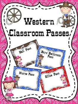 EDITABLE Western Classroom Passes